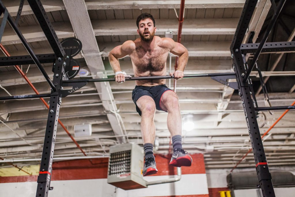 bar muscle-up during the CrossFit Games Open 18.3 at CrossFit Bell